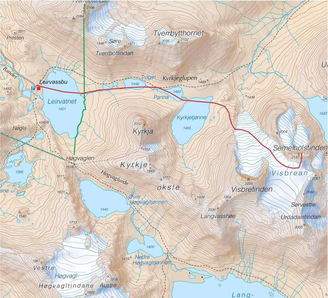 Kart over Semmelholstinden med inntegnet rute. Fra Trygge toppturer