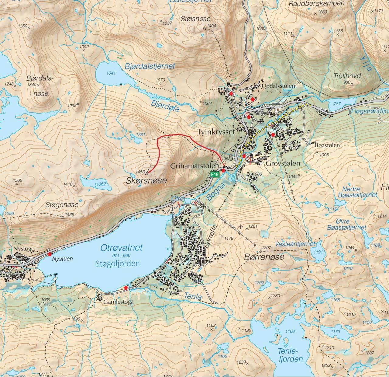 Kart over Skørsnøse med inntegnet rute. Fra Trygge toppturer