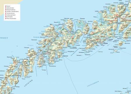 Oversiktskart over Lofoten. Fra Trygge toppturer