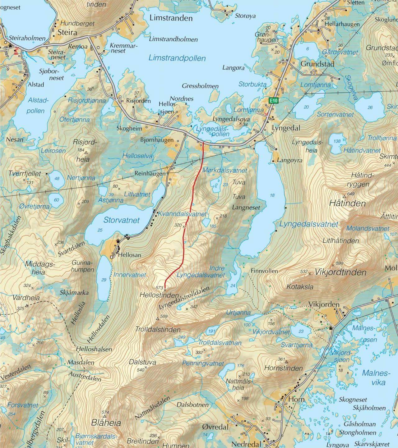 Kart over Hellostinden med inntegnet rute. Fra Trygge toppturer.
