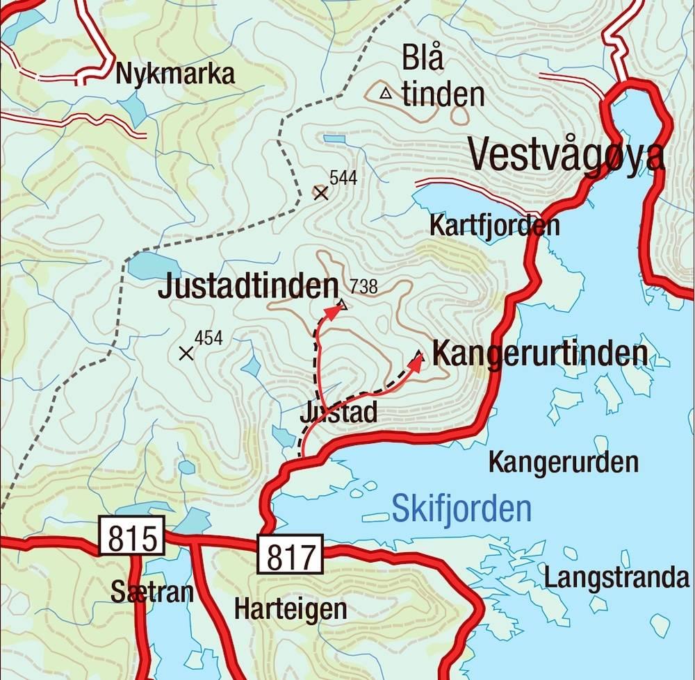Kart for Justadtinden i Lofoten