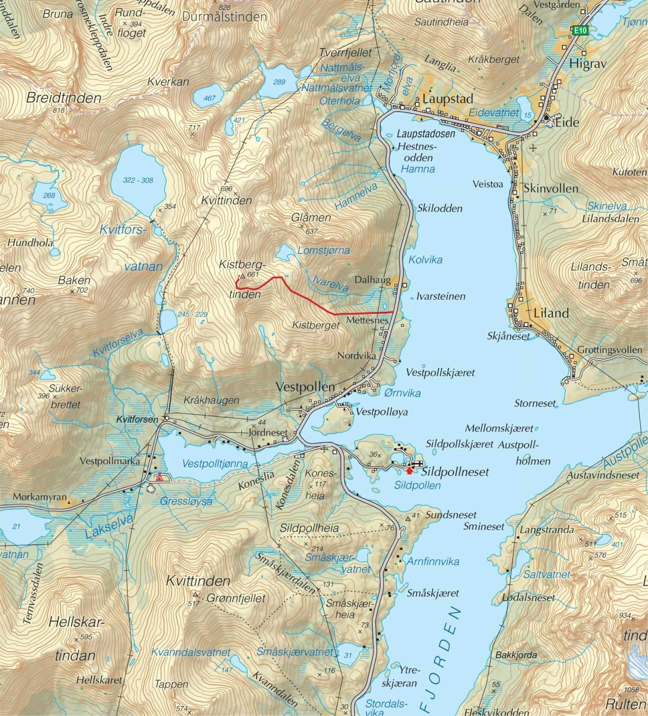 Kart over Kistbergtinden med inntegnet rute. Fra Trygge toppturer.
