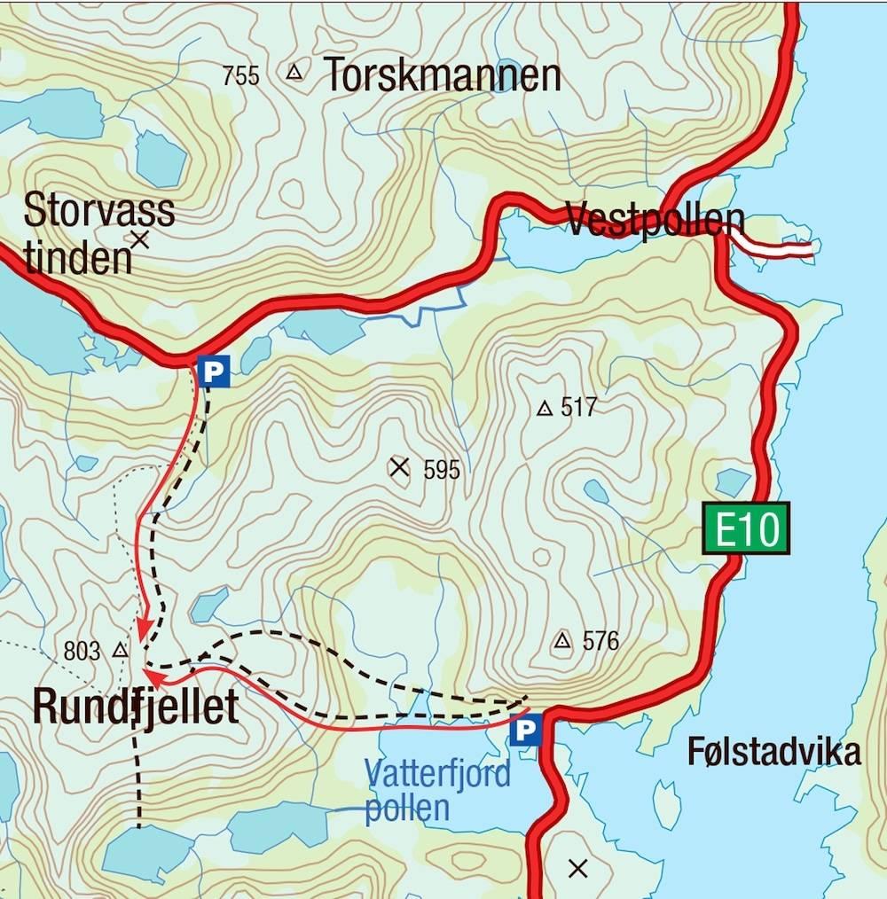 Kart for Rundtinden i Lofoten