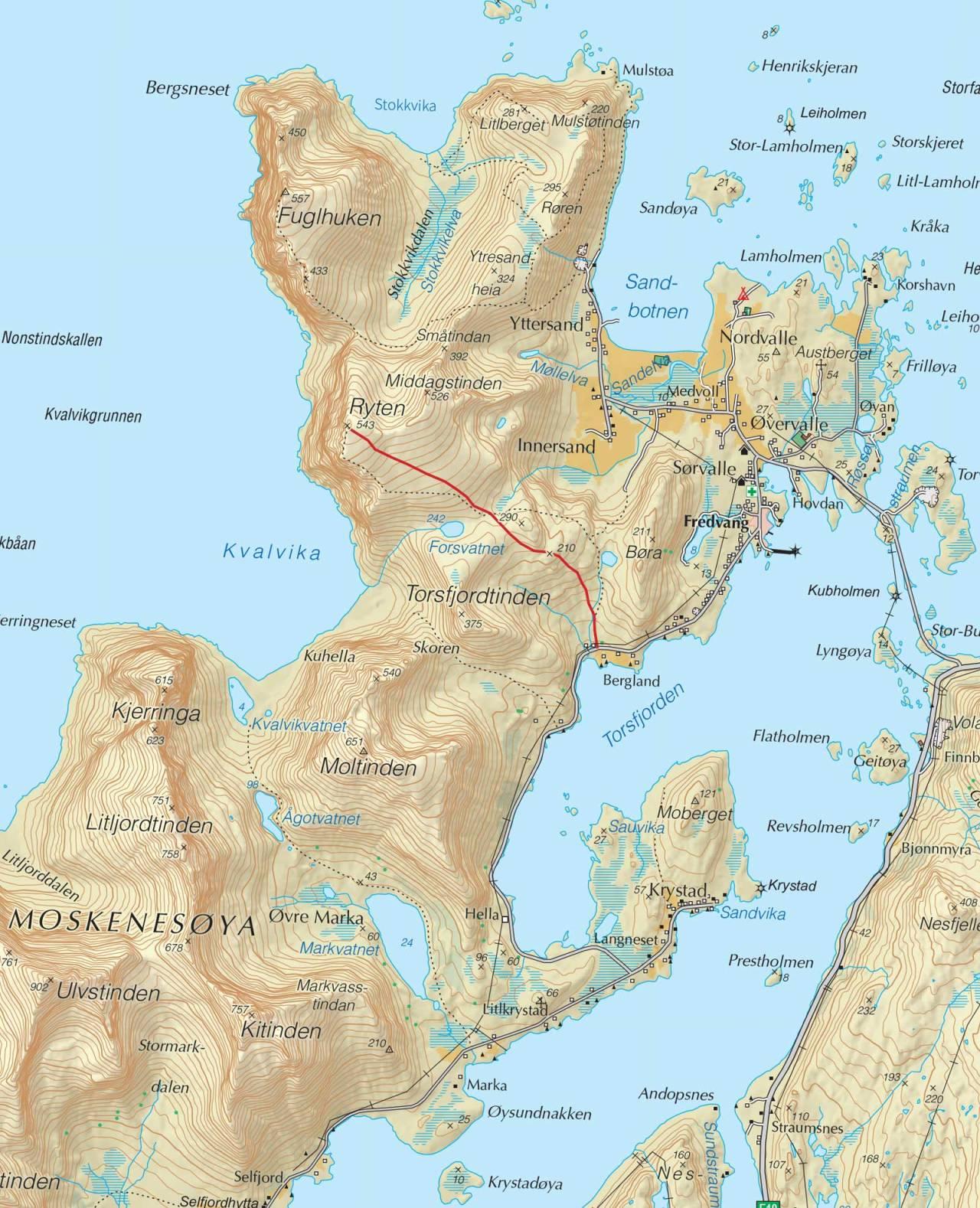 Kart over Ryten med inntegnet rute. Fra Trygge toppturer.