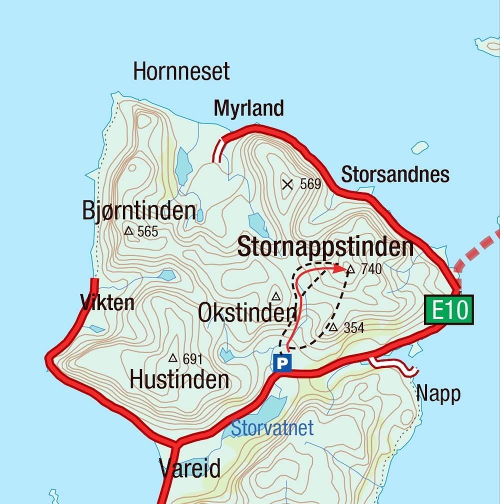 Kart for Stornappstinden i Lofoten