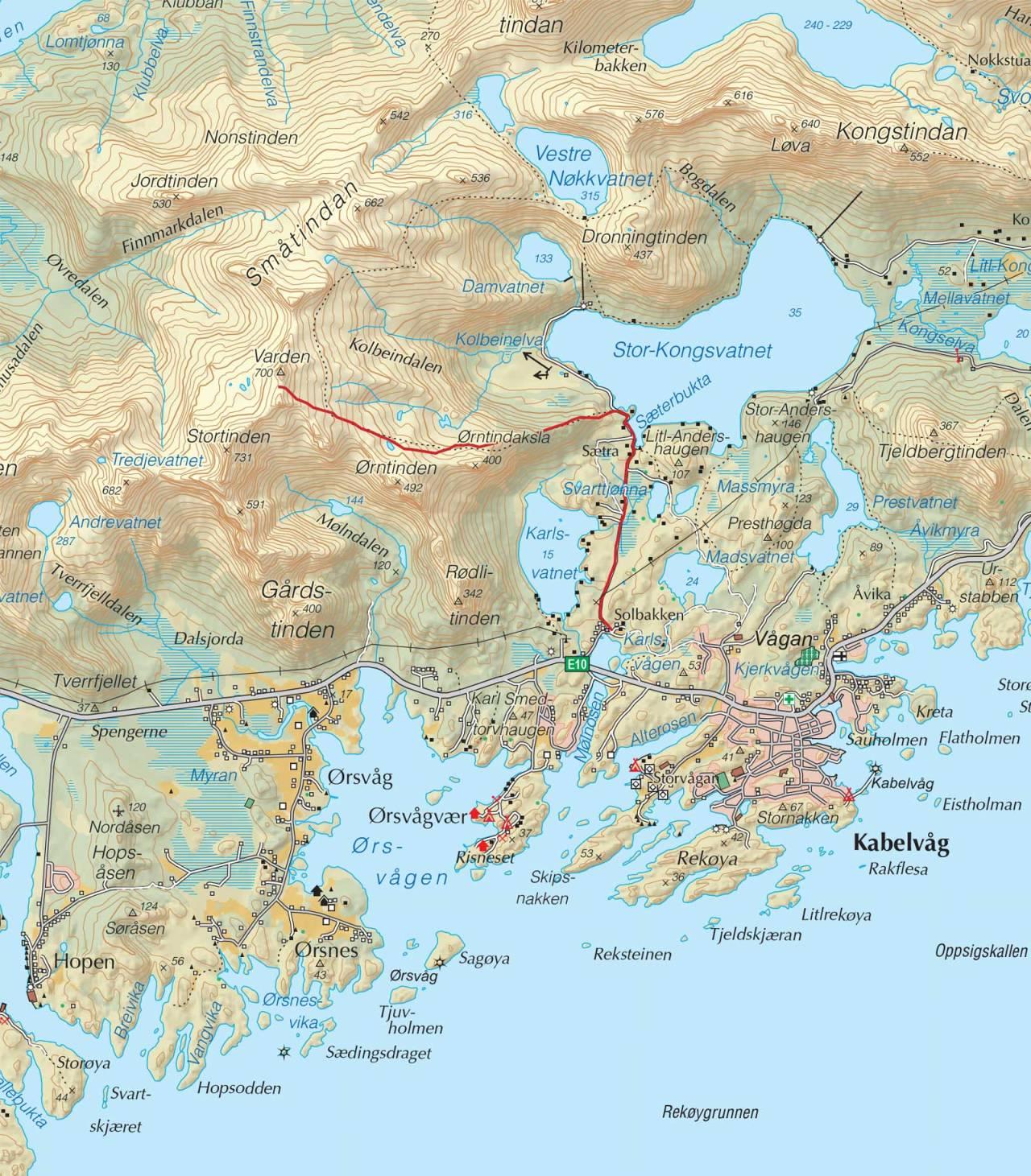 Kart over Varden,Småtindan med inntegnet rute. Fra Trygge toppturer.