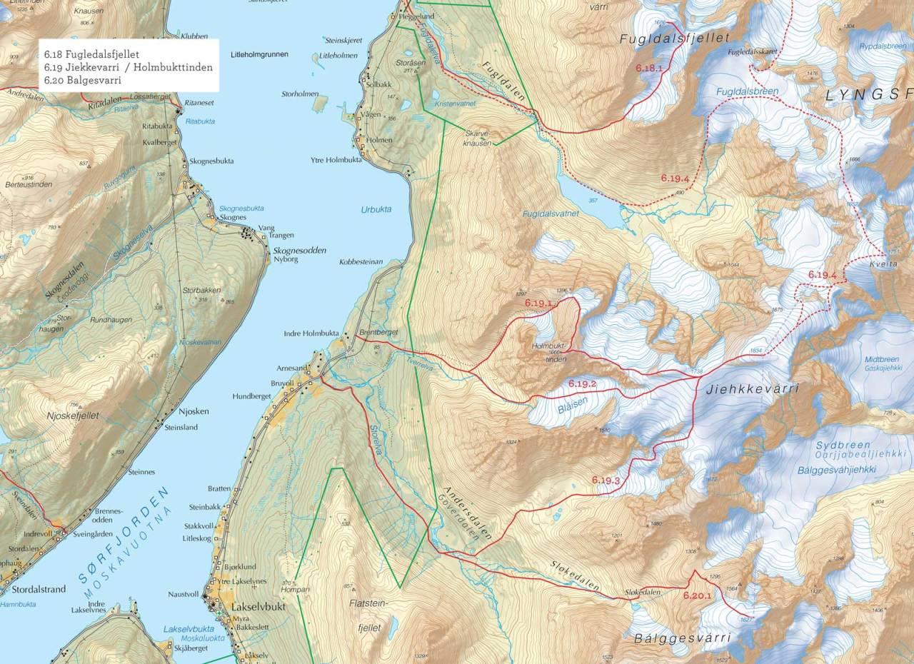 Oversiktskart over Jiekkevarri/Holmbukttinden med inntegnet rute. Fra Toppturer i Troms.