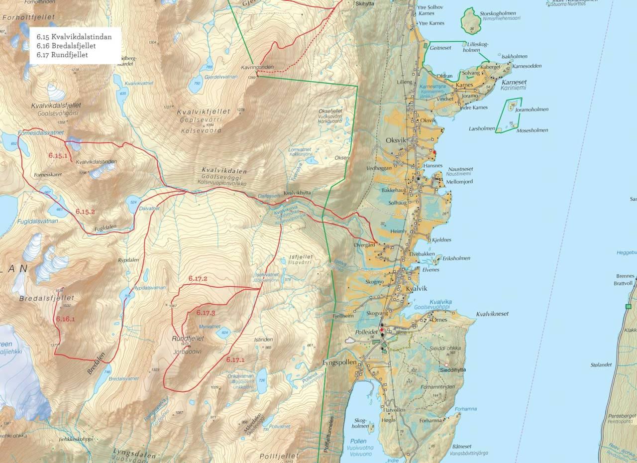 Oversiktskart over Kvalvikdalstindan med inntegnet rute. Fra Toppturer i Troms.