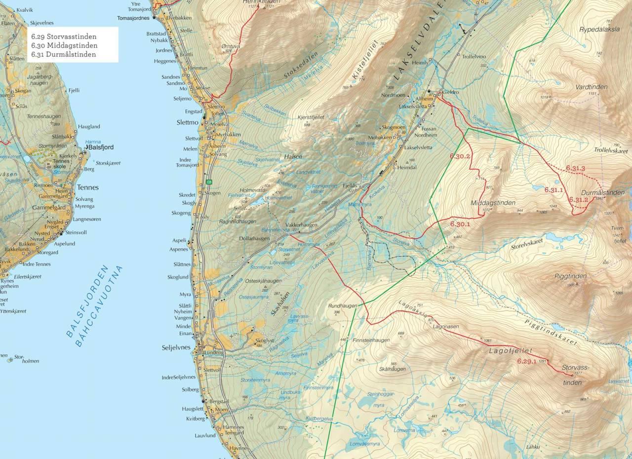 Oversiktskart over Middagstinden med inntegnet rute. Fra Toppturer i Troms.