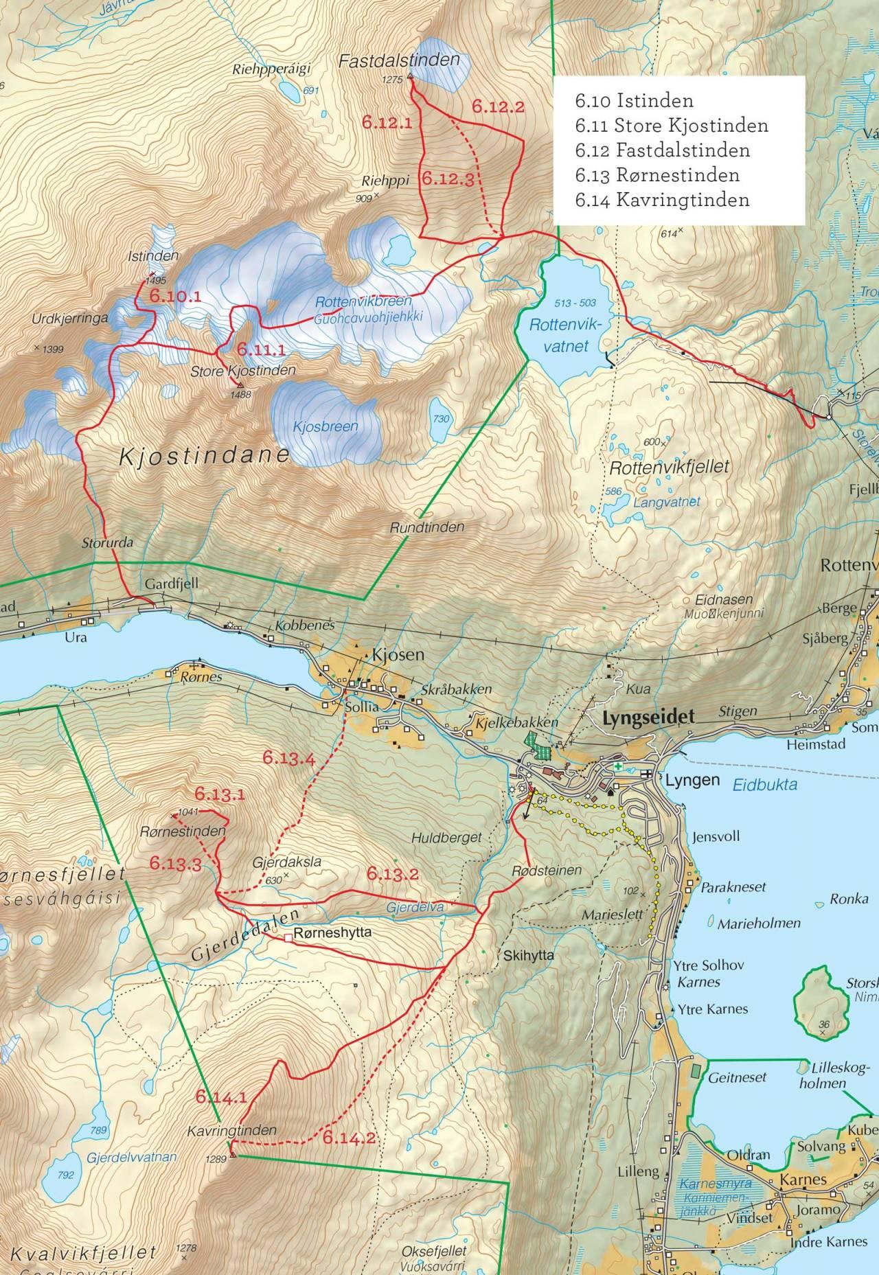Oversiktskart over Rørnestinden med inntegnet rute. Fra Toppturer i Troms.
