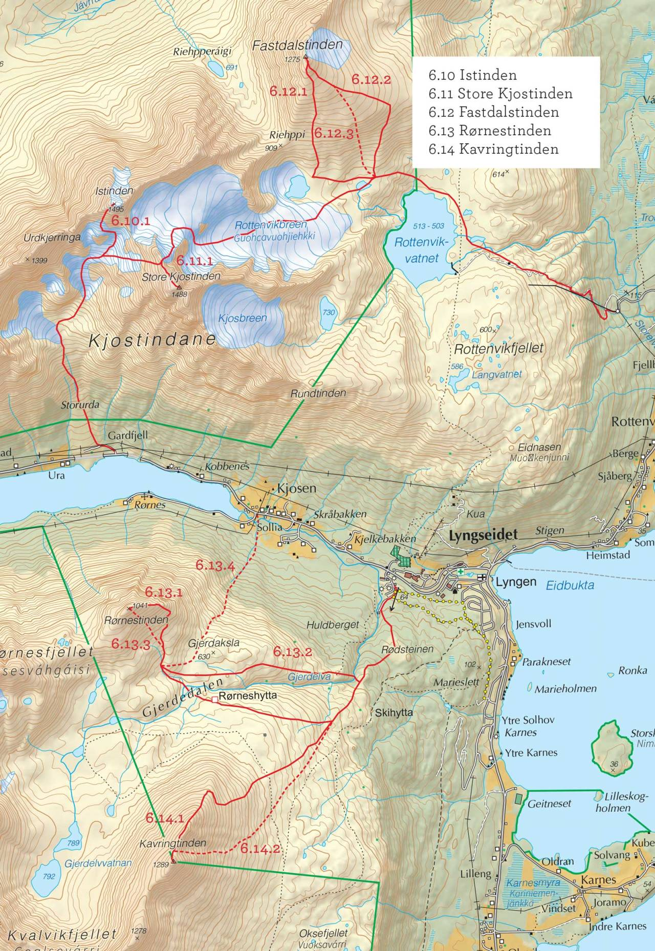 Oversiktskart over Store Kjostinden med inntegnet rute. Fra Toppturer fra Troms.