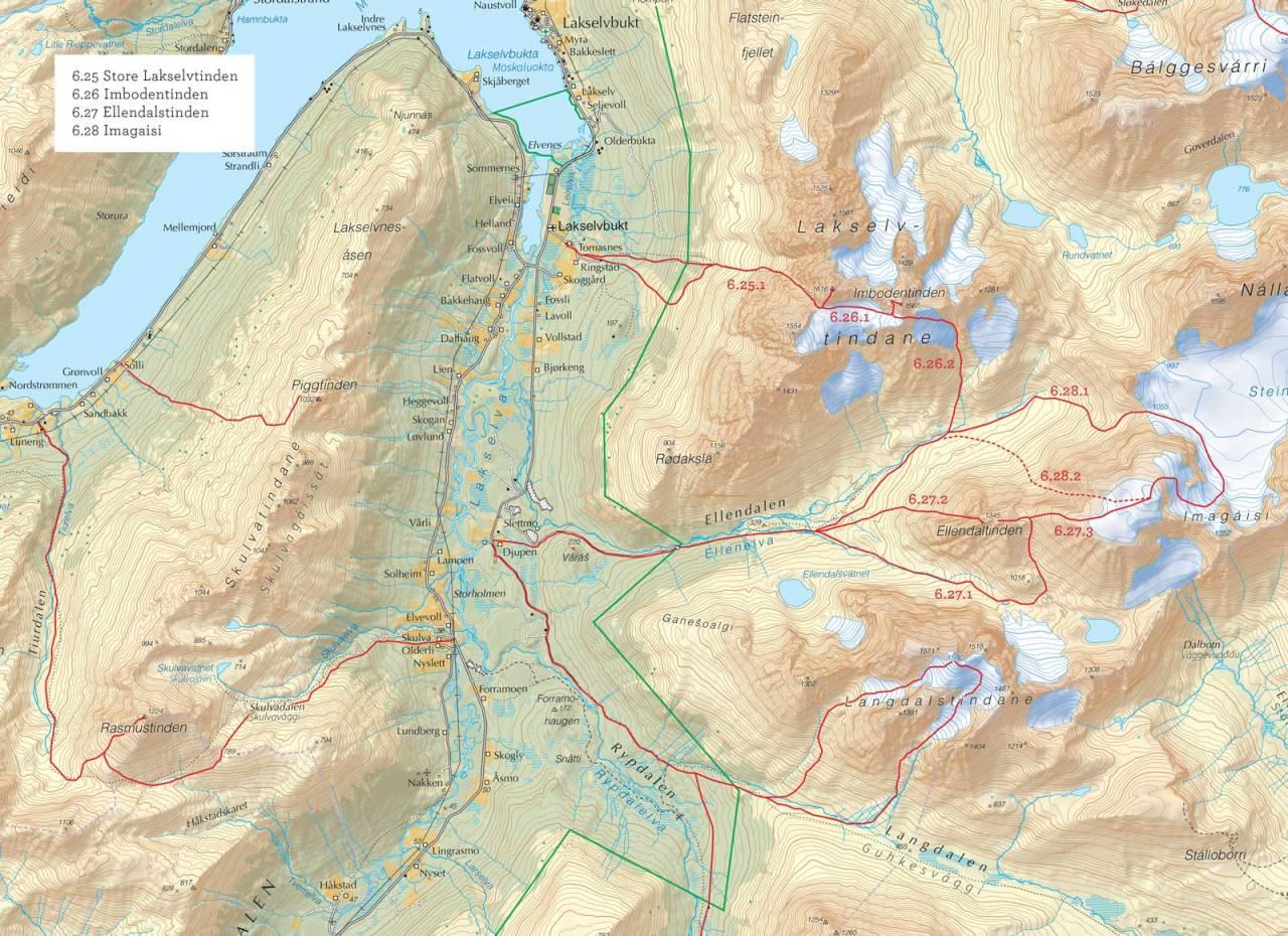 Oversiktskart over Lakselvtind med inntegnet rute. Fra Toppturer i Troms.