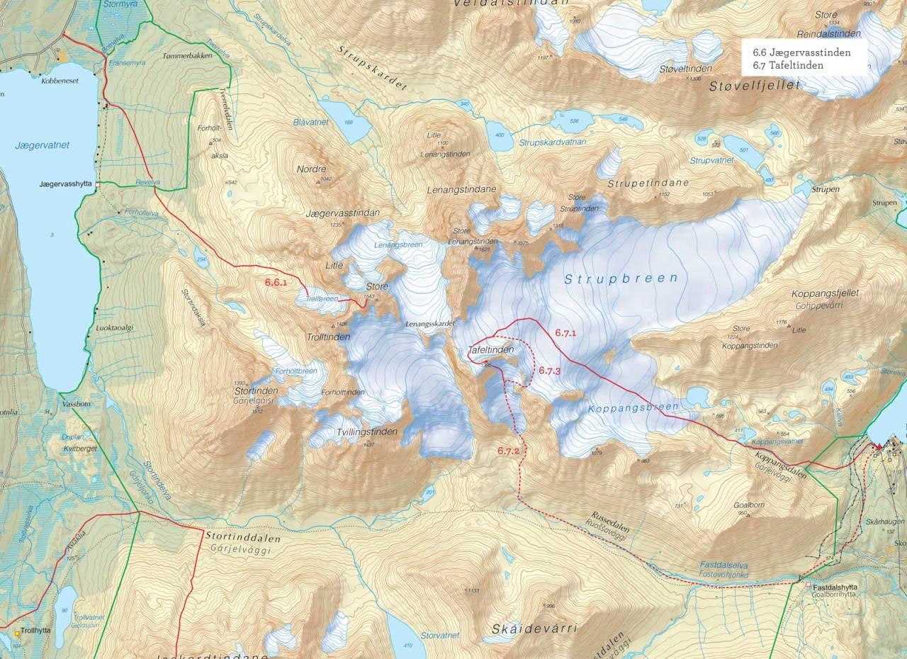 Oversiktskart over Tafeltinden med inntegnet rute. Fra Toppturer i Troms.