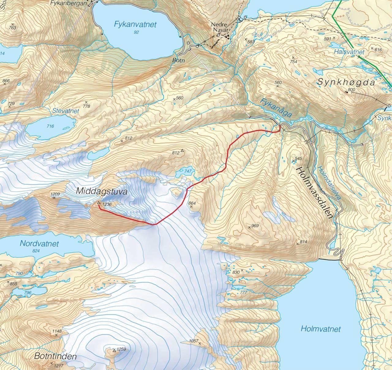 Kart over Middagstuva med inntegnet rute. Fra Trygge toppturer.