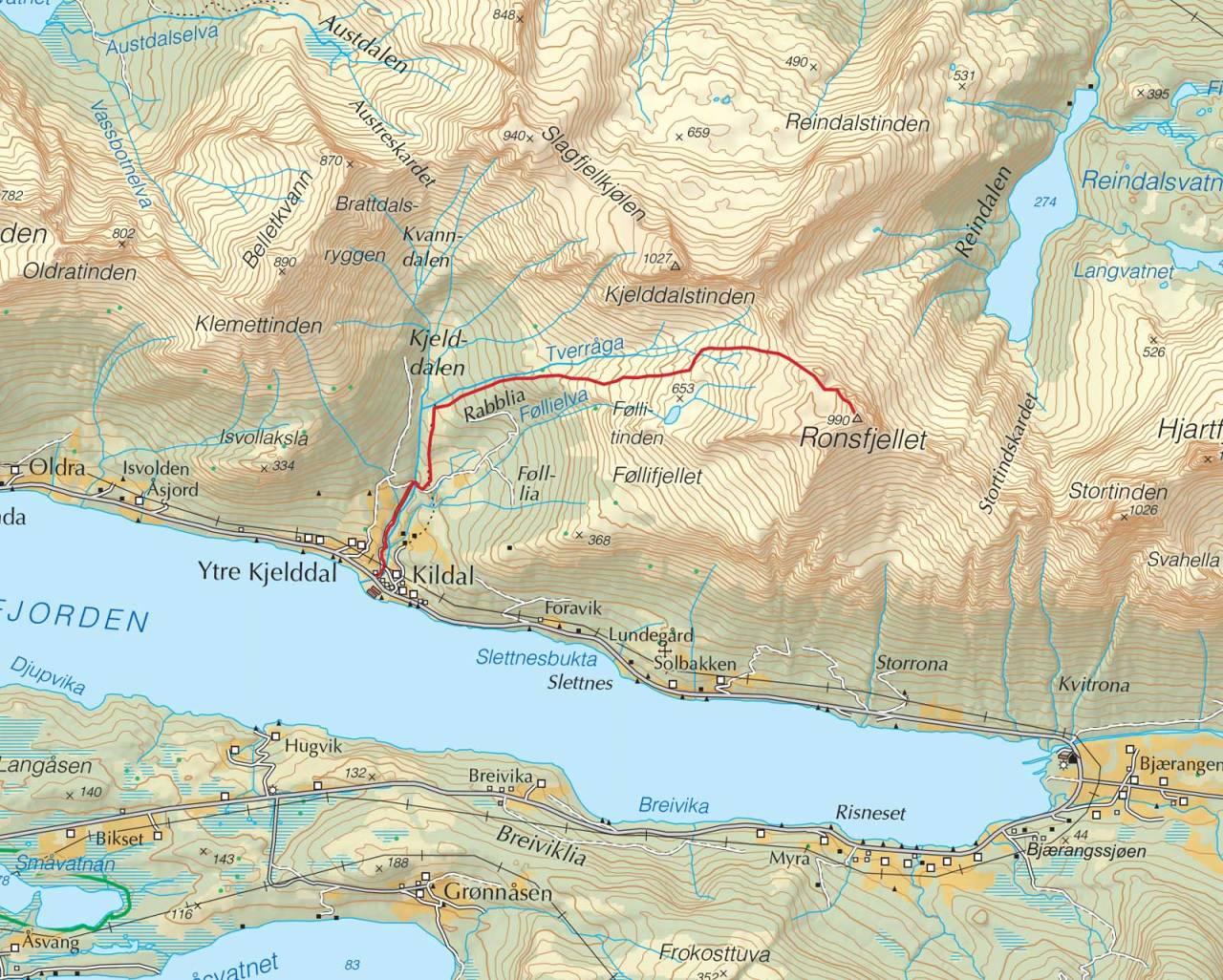 Kart over Ronsfjellet med inntegnet rute. Fra Trygge toppturer.