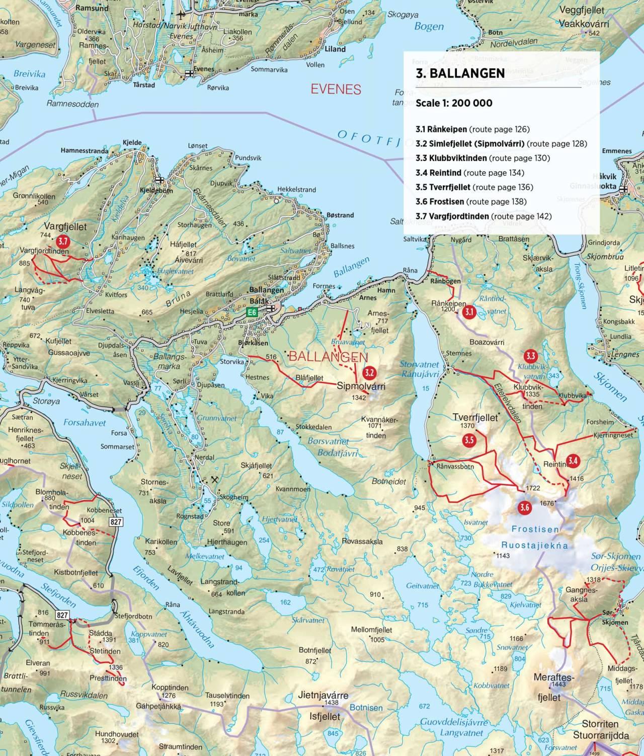 Oversiktskart over Ballangen. Fra Toppturer rundt Narvik.