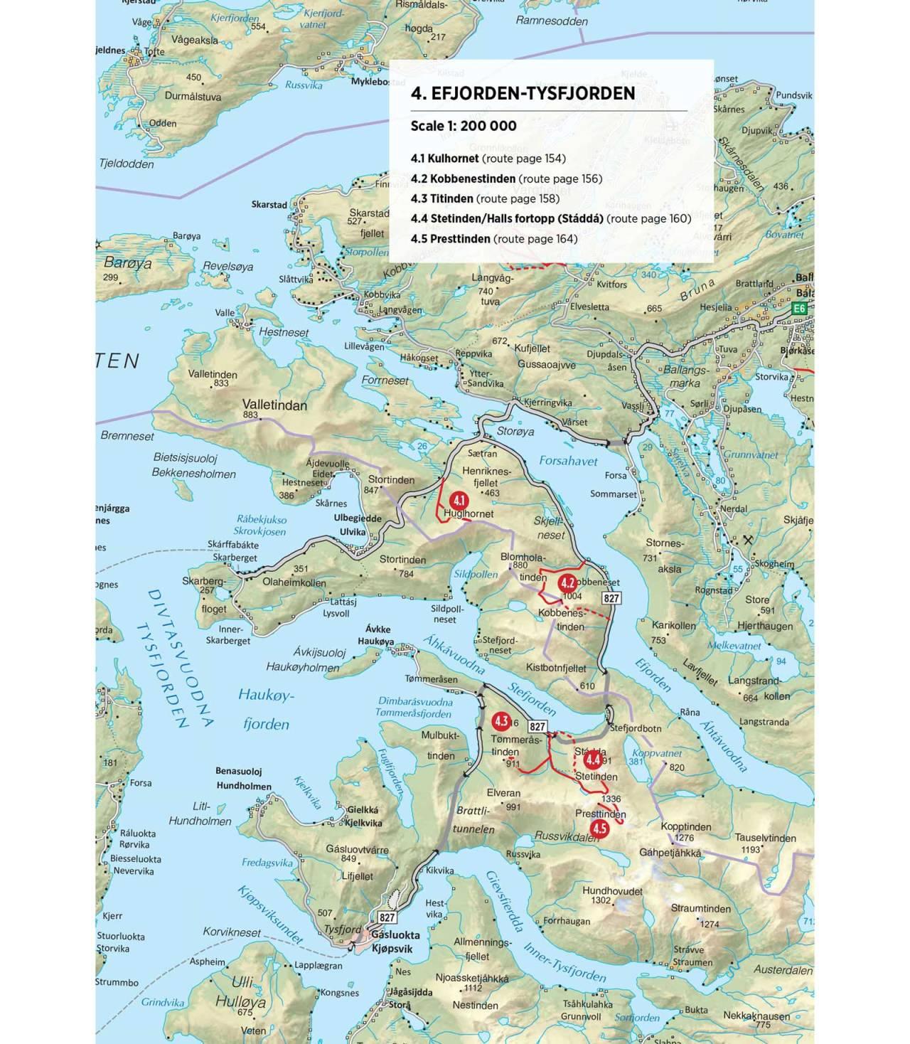 Oversiktskart over Efjorden og Tysfjorden. Fra Toppturer rundt Narvik.