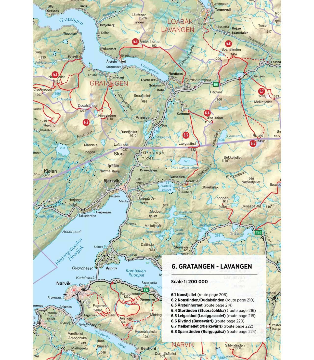 Oversiktskart over Gratangen og Lavangen. Fra Toppturer rundt Narvik.