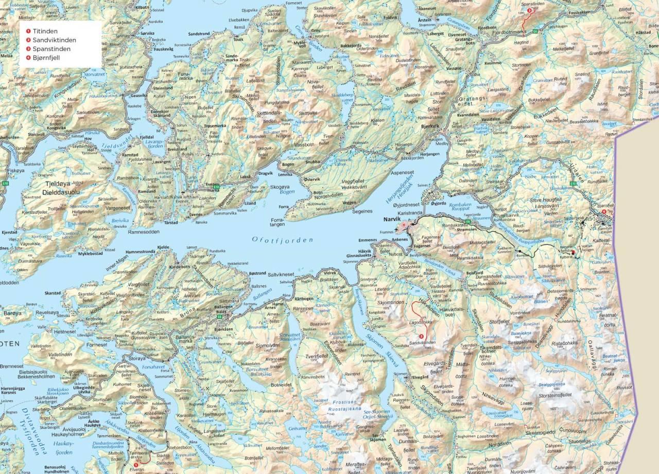 Oversiktskart over Narvik. Fra Trygge toppturer