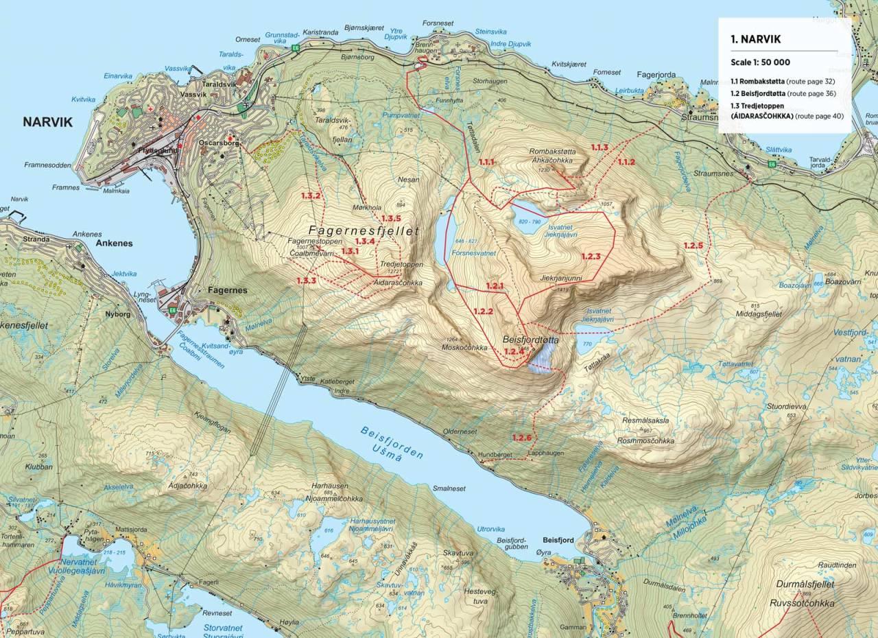 Kart over Beisfjordtøtta med inntegnet rute. Fra Toppturer rundt Narvik
