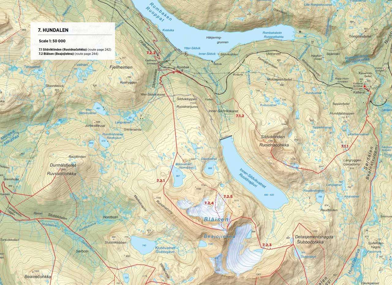 Kart over Blåisen med inntegnet rute. Fra Toppturer rundt Narvik.