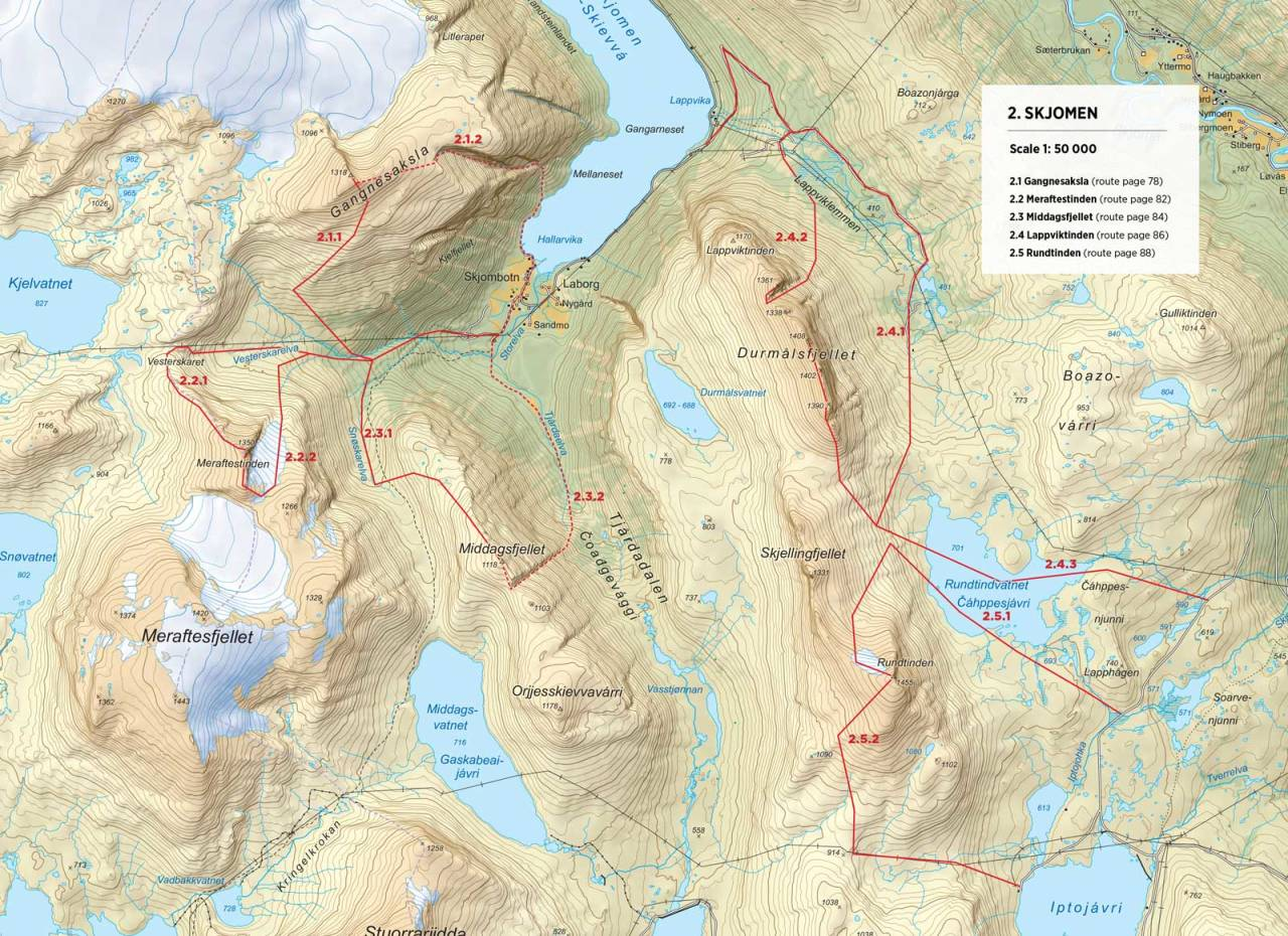 Kart over Gangnesaksla med inntegnet rute. Fra Toppturer rundt Narvik.