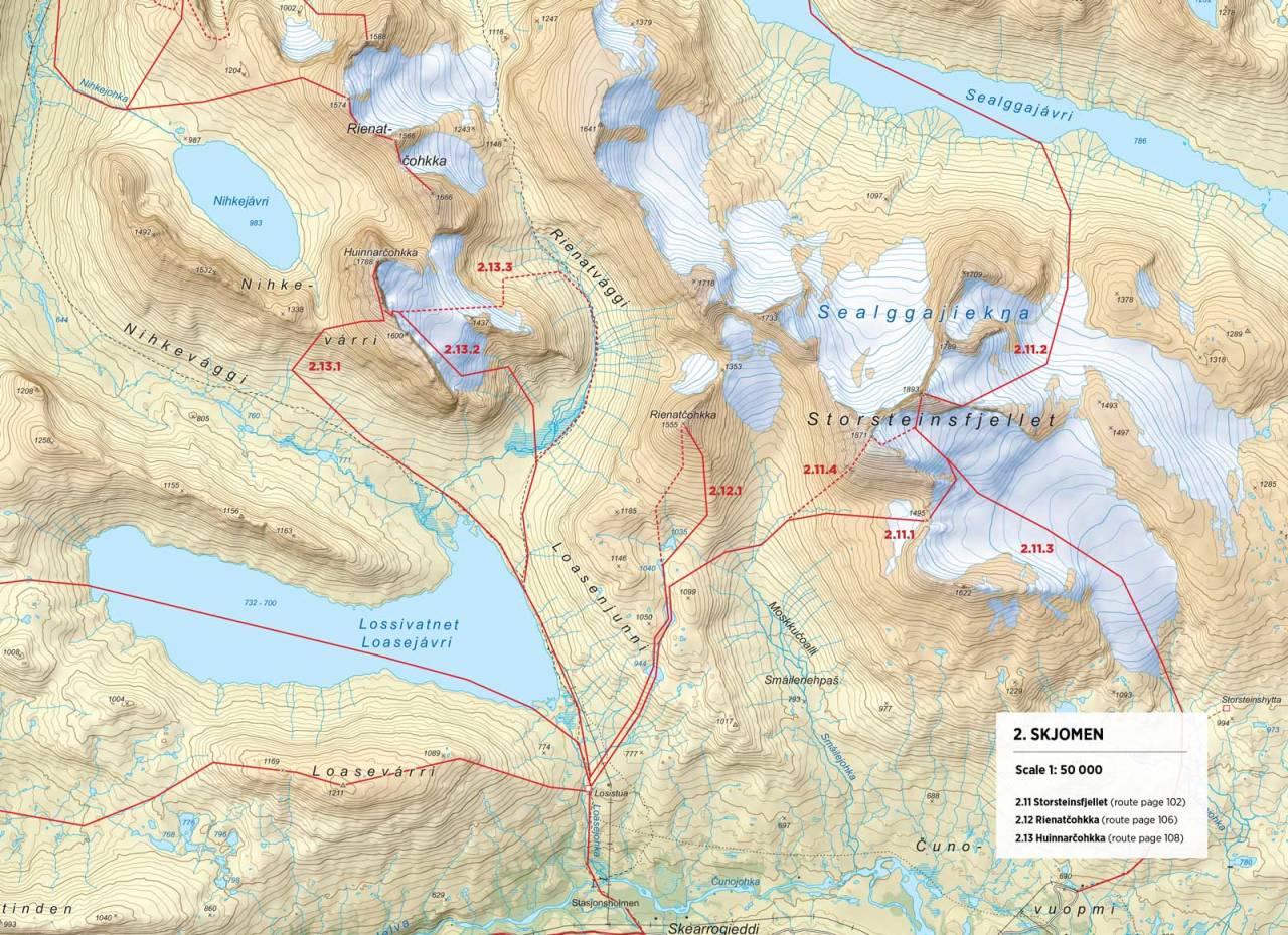 Kart over Huinnarčohkka med inntegnet rute. Fra Toppturer rundt Narvik.