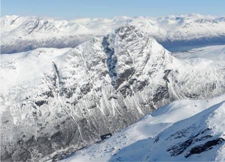 Klubbviktinden fra vest. Foto: Rune Dahl / Toppturer rundt Narvik.