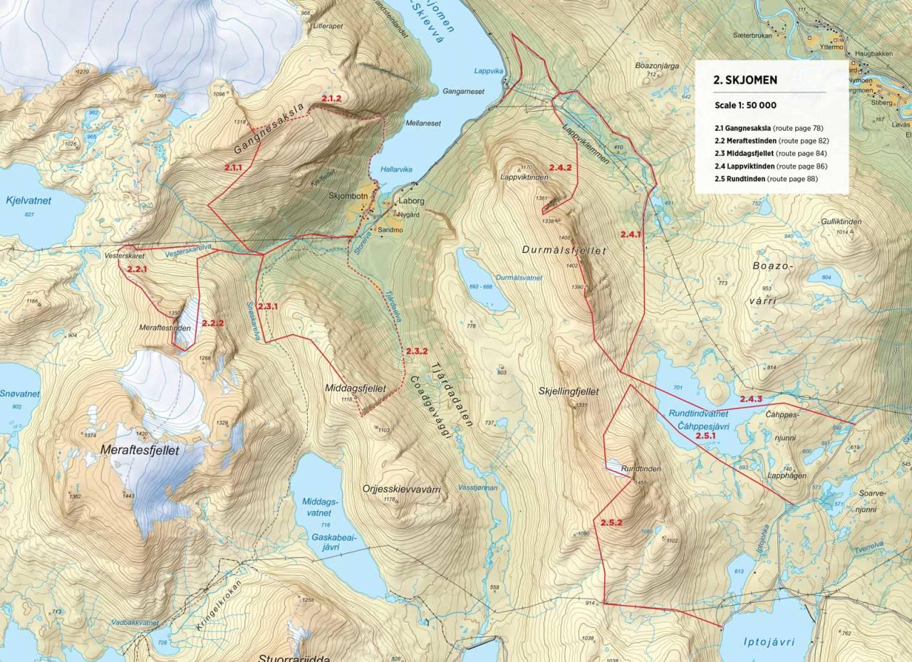 Kart over Middagsfjellet med inntegnet rute. Fra Toppturer rundt Narvik.