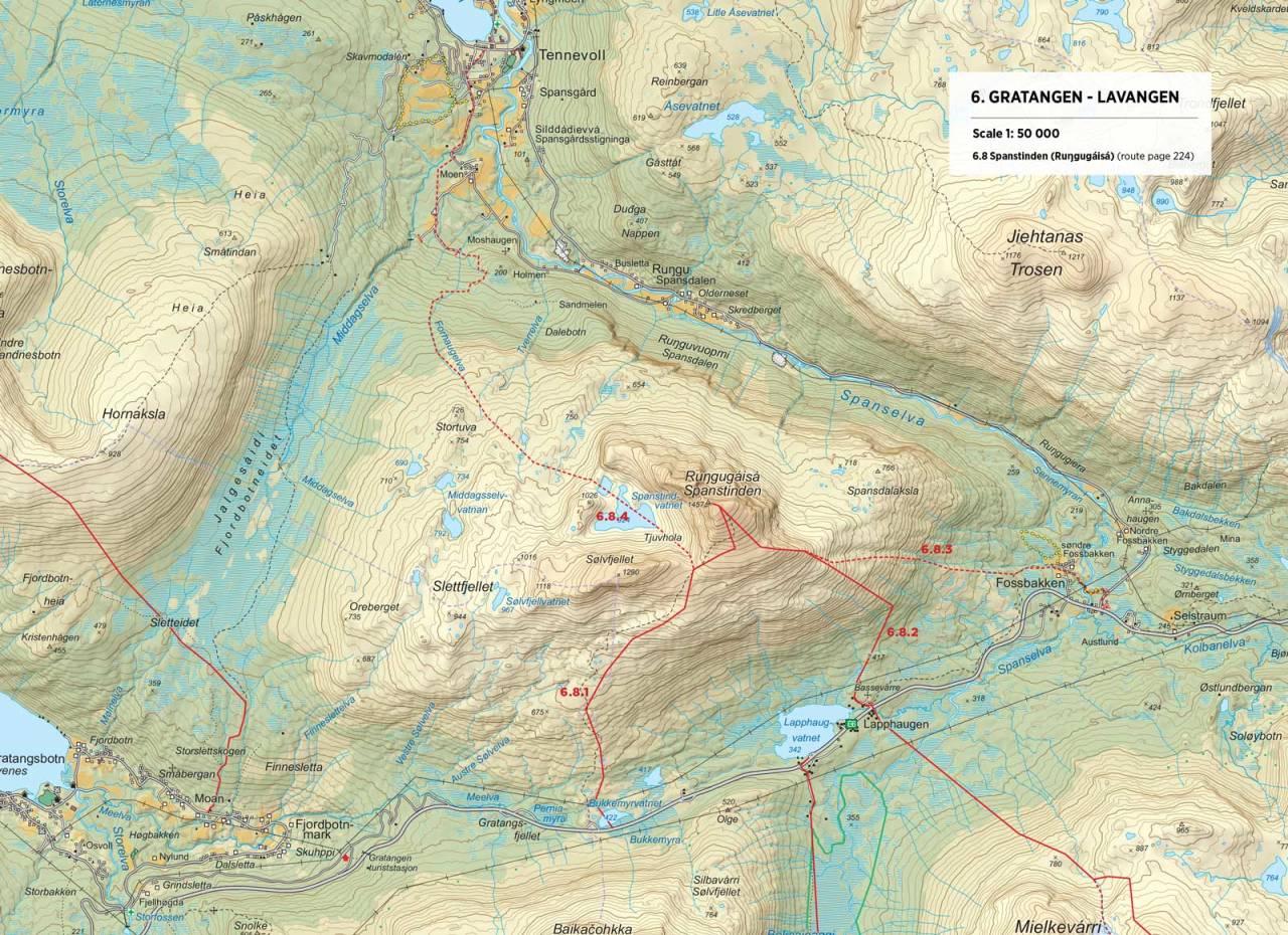 Kart over Spanstinden med inntegnet rute. Fra Toppturer rundt Narvik.