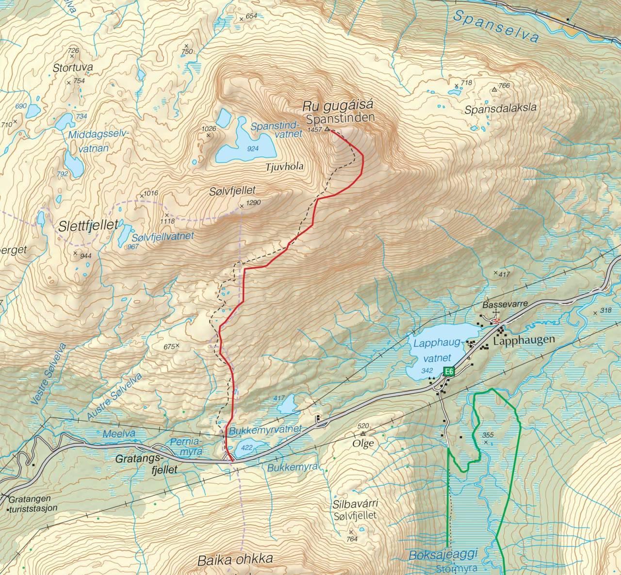 Kart over Spanstinden med inntegnet rute. Fra Trygge toppturer.