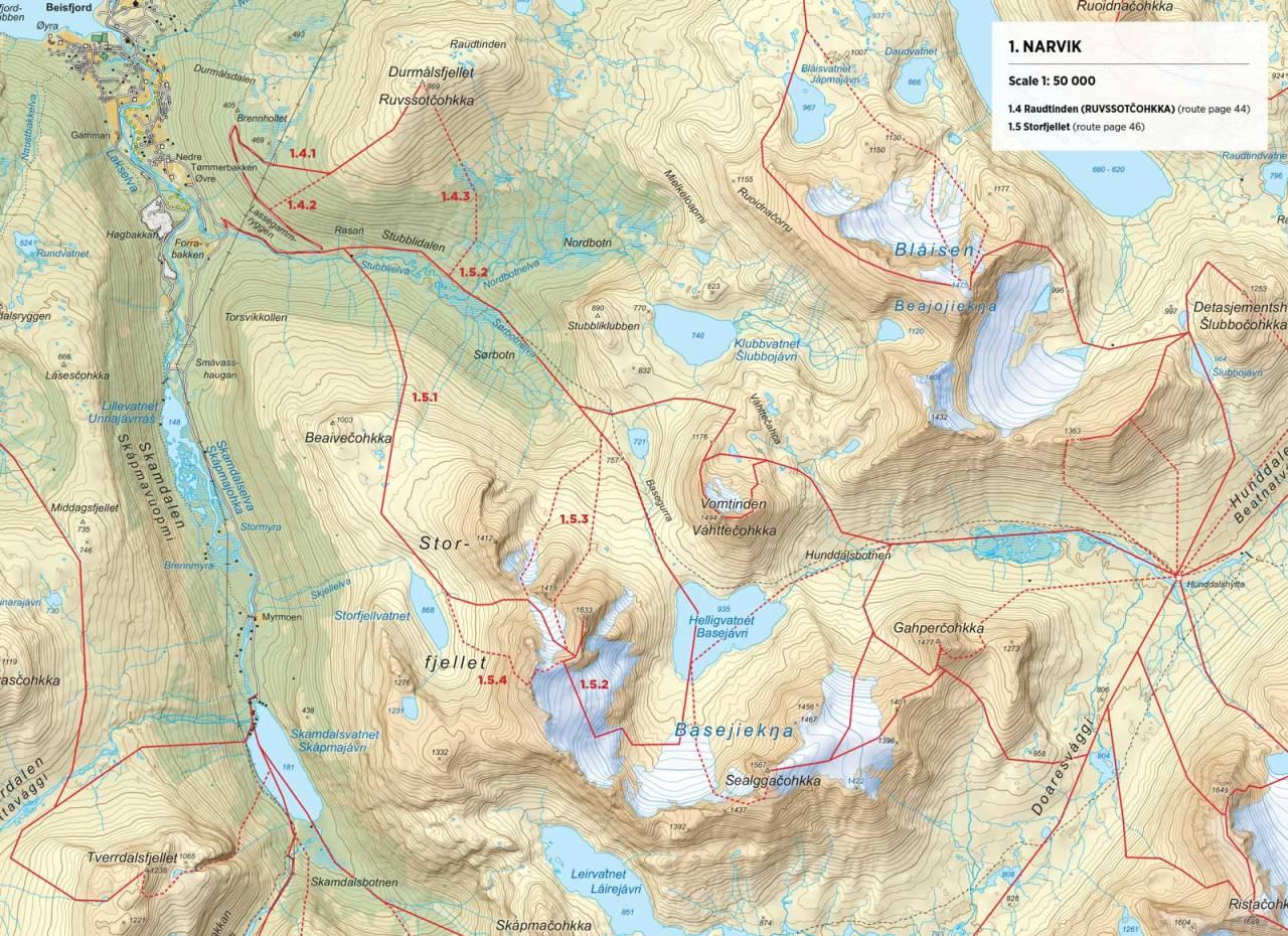 Kart over Storfjellet med inntegnet rute. Fra Toppturer rundt Narvik