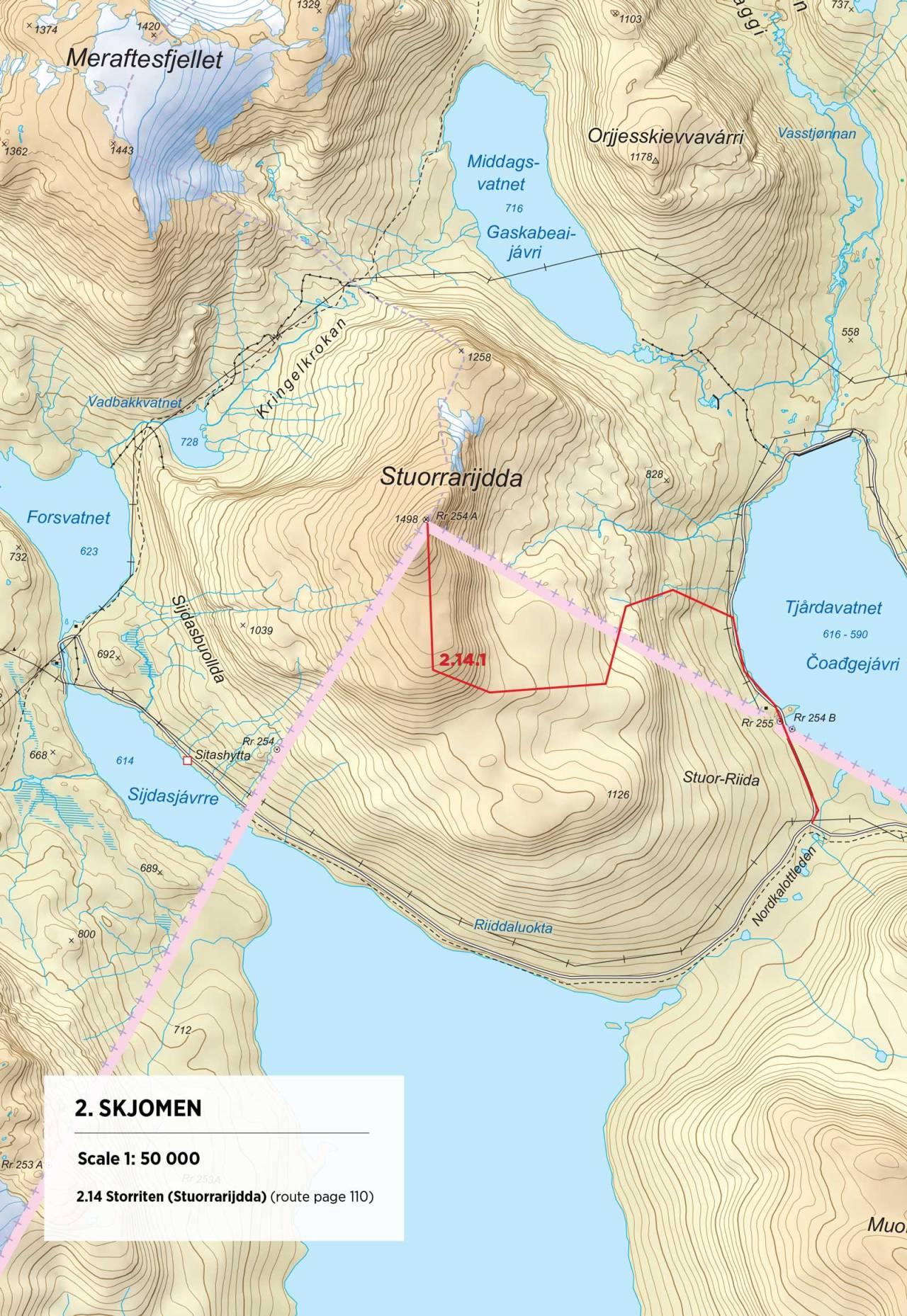 Kart over Storriten med inntegnet rute. Fra Toppturer rundt Narvik.