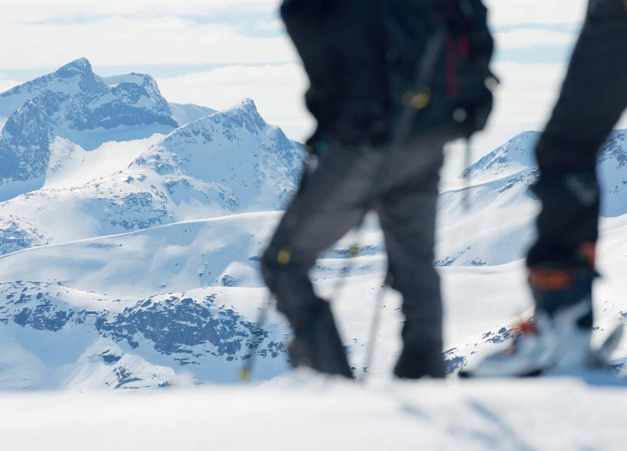 Utsikt mot Hunddalen og Storsteinsfjellet fra grensen til Sverige. Storsteinsfjellet vises helt til venstre i bildet. Foto: Anna Öhlund / Toppturer rundt Narvik.