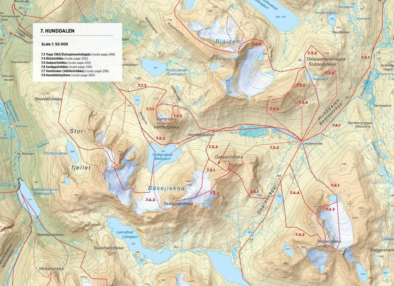 Kart over Topp 1363 og Detasjementshøgda med inntegnet rute. Fra Toppturer rundt Narvik.