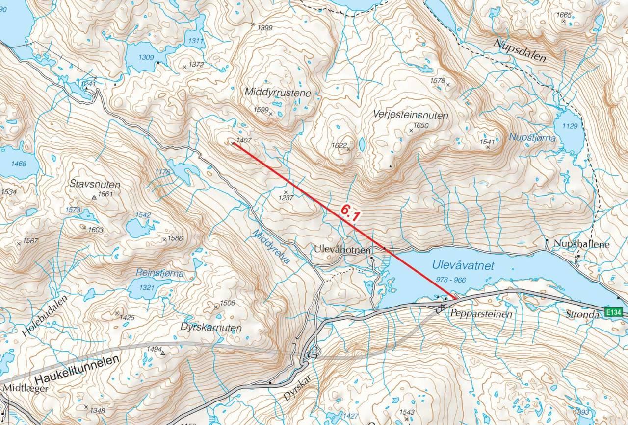 Kart over P1407 med inntegnet rute. Fra Toppturer i Sørvest