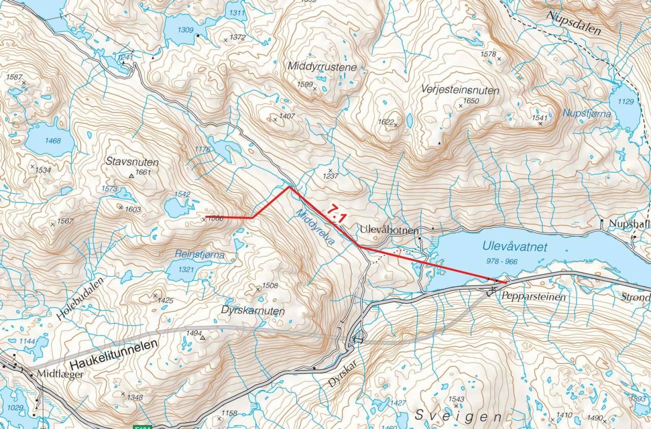 Kart over P1586 med inntegnet rute. Fra Toppturer i Sørvest.