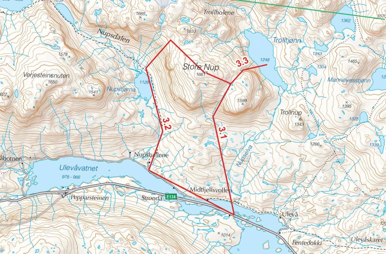 Kart over Store Nup med inntegnet rute. Fra Toppturer i Sørvest.