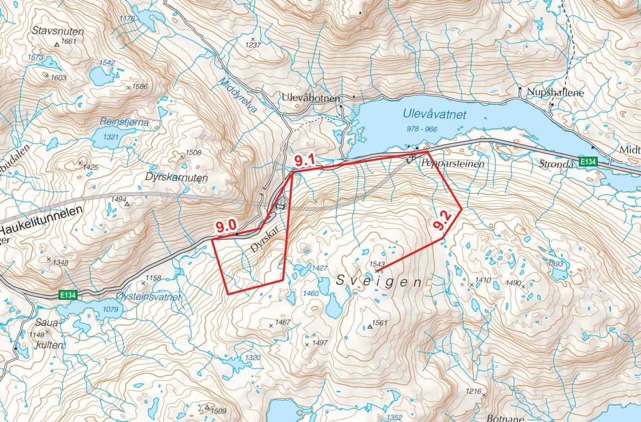 Kart over Sveigen med inntegnet rute. Fra Toppturer i Sørvest.