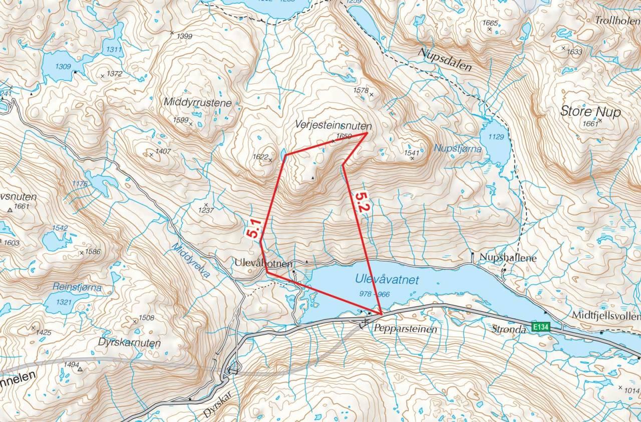 Kart over Verjesteinsnuten med inntegnet rute. Fra Toppturer i Sørvest.