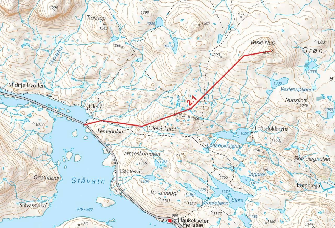 Kart over Vesle Nup med inntegnet rute. Fra Toppturer i Sørvest.