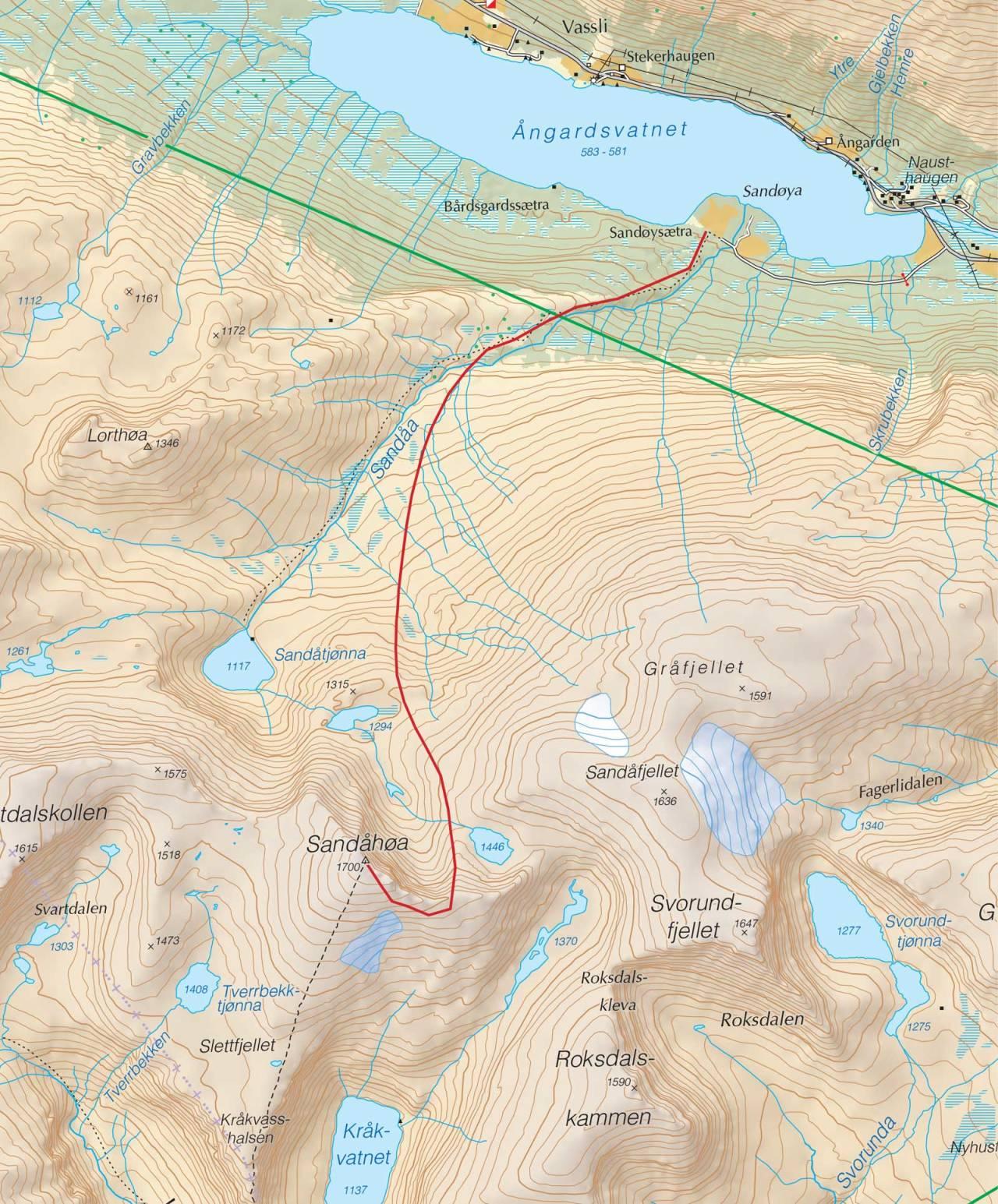 Kart over Kråkvasstinden med inntegnet rute. Fra Trygge toppturer.