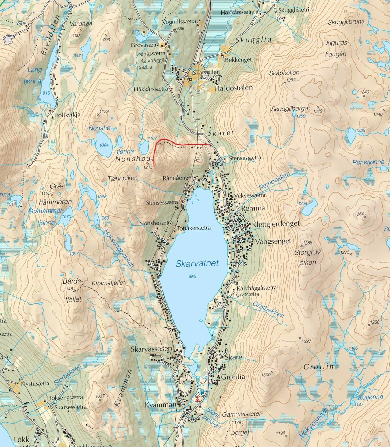 Kart over Nonshøa med inntegnet rute. Fra Trygge toppturer.