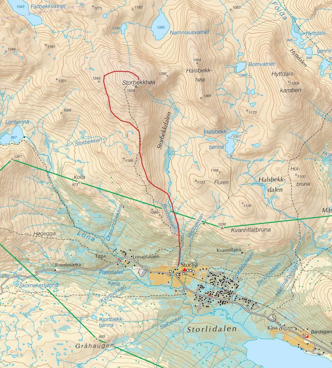 Kart over Storbekkhøa med inntegnet rute. Fra Trygge toppturer.