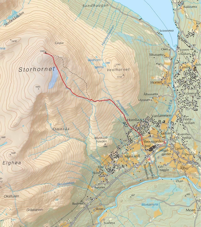 Kart over Storhornet med inntegnet rute. Fra Trygge toppturer.