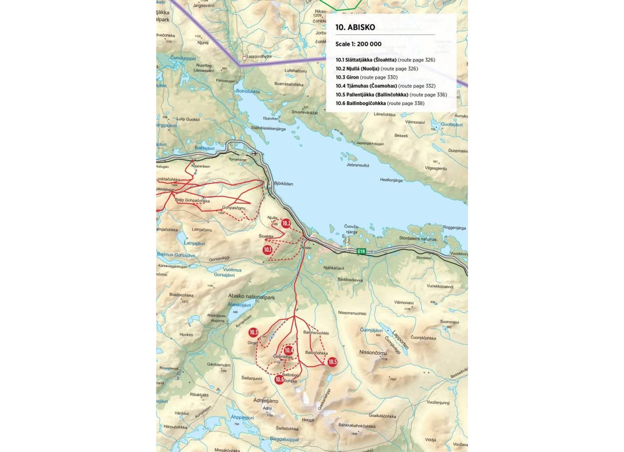 Oversiktskart over Abisko. Fra Toppturer rundt Narvik.