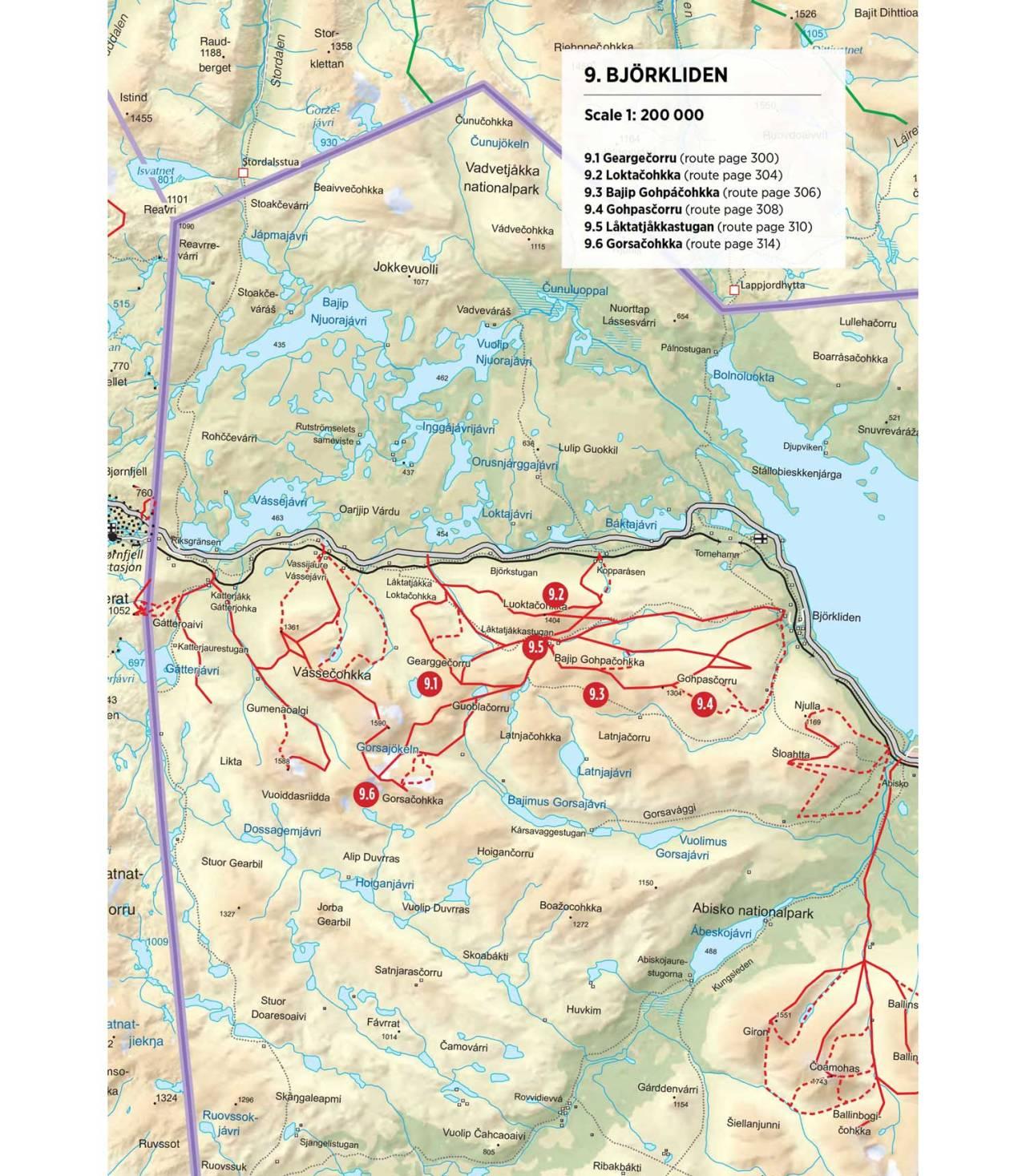 Oversiktskart over Björkliden. Fra Toppturer rundt Narvik.