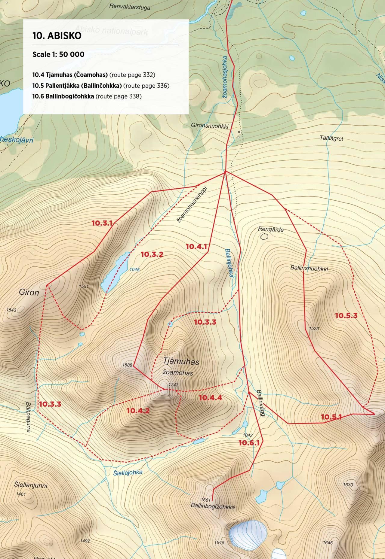 Kart over Tjåmuhas med inntegnet rute. Fra Toppturer rundt Narvik.