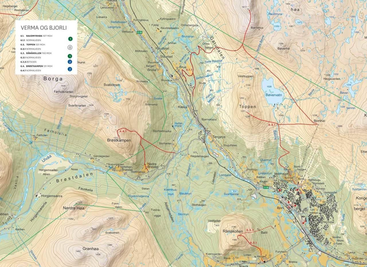 Oversikstkart med inntegnet rute. Fra Toppturer i Romsdalen