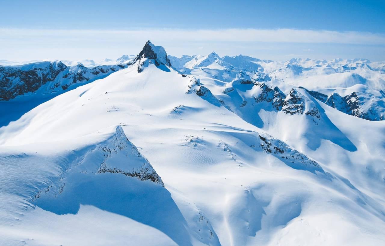 Normalveien på Gjuratinden har mye fint skiterreng under toppryggen. Store Venjetinden og Trollveggen i bakgrunnen.